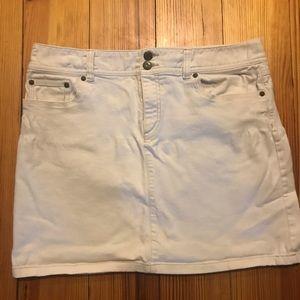 Loft white jean skirt